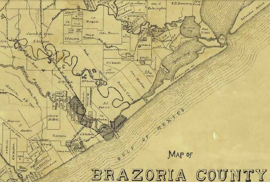 Brazoria County Map 1918. P.W. and F.K. Stevens. (University of North Texas Libraries. The Portal to Texas History. Crediting Texas General Land Office).